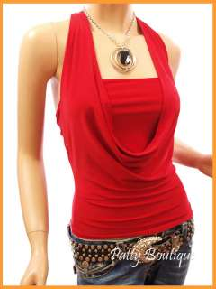 Cowl Neck Backless Chain Draping Halter Tops