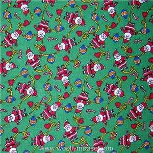 HALF YARD Cranston Santa Claus All Over GREEN Christmas Quilt Fabric 1