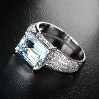 AQUAMARINE .84ct DIAMOND Solid 14K WHITE GOLD Engagement RING