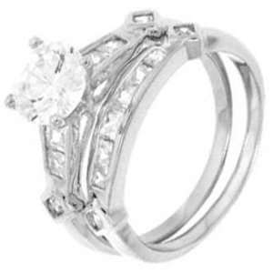 Sterling Silver Wedding Ring Set with Round Cubic Zirconia