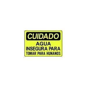 CUIDADO AGUA INSEGURA PARA TOMAR PARA HUNANOS 10x14 Heavy Duty Indoor