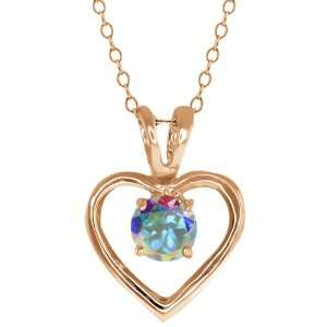 Ct Round Mercury Mist Mystic Topaz Gold Plated Sterling Silver Pendant