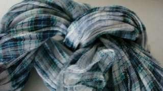 Blue Nova Check Tartan Crinkle Scarf Made in Italy NWT $350