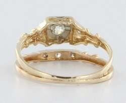 Antique Deco VVS1 Diamond Gold Engagement Wedding Ring Band Set
