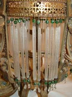 Antique ART Nouveau DECO Flapper Dress CRYSTAL Wrought Iron CHANDELIER