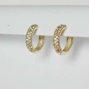 PAVE CZ CUBIC ZIRCONIA GOLD GP HUGGY EARRINGS