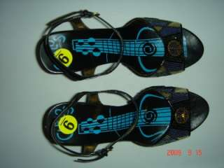 CARLOS SANTANA GREEN BLUE PEACE GUITAR WEDGE SANDALS 9
