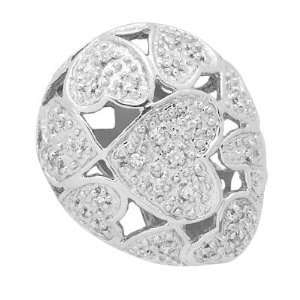 18K White Gold Oval Hearts Diamond Pendant Necklace 0.25CT