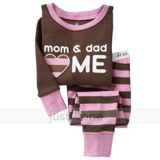 Children Boy Girls Cute Pattern Sleepwear Tops + Pants Pajama Set 2 7Y