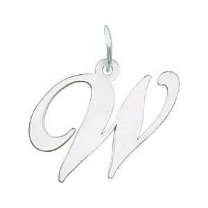Fancy Cursive Letter W Charm 14k White Gold