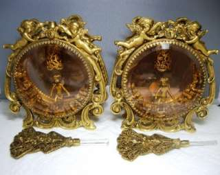 PAIR~GUILDCREST 24 KT Gold Plated ORMOLU CHERUB CHERUBS Filigree