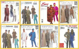 Ethnic Costume Sewing Pattern Men Unisex Dashiki Robe Caftan Headwrap