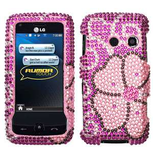 Sprint LG Rumor Touch LN510 Flowers Rhinestones Crystal Bling Phone