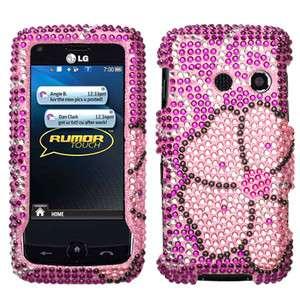 Sprint LG Rumor Touch LN510 Flowers Rhinestones Crystal Bling Phone