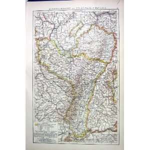 LORRAINE PALATINATE BAVARIA ANTIQUE MAP c1897 SWITZERLAND FRANCE
