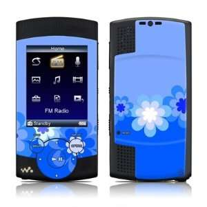 Retro Blue Flowers Design Protective Skin Decal Sticker