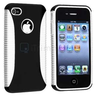 Hybrid White TPU/Black Case Hard Cover+DC Car Charger For iPhone 4 4G