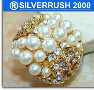 FANCY PEARL, WHITE TOPAZ GOLD PLATED .925 SILVER RING ; SIZE 9