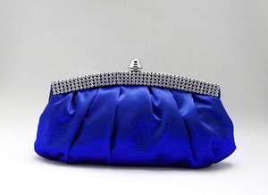 Royal Blue Satin Rhinestone Studded Evening/Wedding Clutch Purse Bag