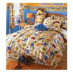 Tan Dinoland Twin All In One Complete Bed Set, 64 x 86