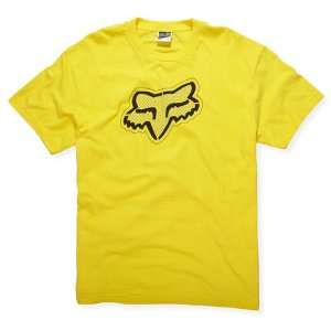 FOX Racing Mens 47010 CARBON Head Logo Short Sleeve Tee T Shirt Yellow