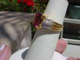 18K ~~18 K RING~ RUBELLITE~~PINK TOURMALINE~DIAMONDS~CUSHION OR