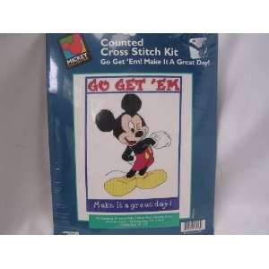 Disney Mickey Mouse Counted Cross Stitch Kit 8 x 10 ; Go Get Em