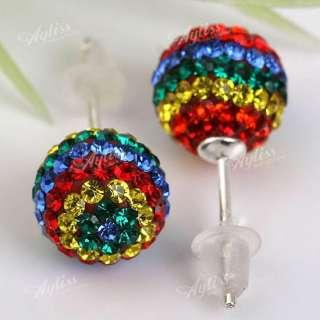 1Set Sterling Silver Rainbow Crystal Girl Stud Earrings