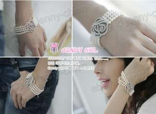Korea Hot Delicate Rose 4 Layer Pearl Bracelet   F10