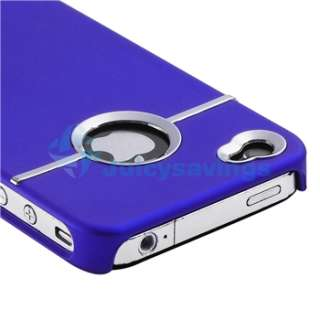 +Purple Leather Chrome Pouch Case Cover For iPhone 4 4S 4G S Verizon