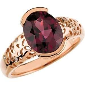 14K Rose Gold Rhodolite Garnet and Diamond Ring Jewelry