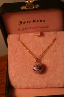 NIB JUICY COUTURE cupcake locket necklace pave cherry