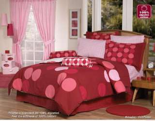 NW Sphere Red Pink Comforter Sheets Bedding Set Twin 8p