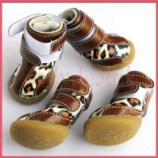 Chocolate Leopard Spots PU Leather Dog Pet Puppy Doggie Boots Shoes S