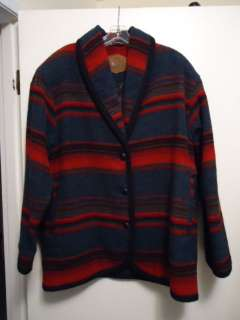 WOOLRICH Red + Blue Wool Indian Blanket Jacket Coat Size Large