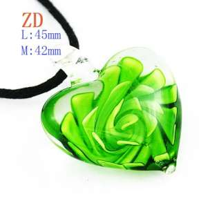 g418 Pink Red Multi Colors Flower Lampwork Glass Heart Pendant