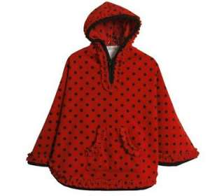 Bonnie Jean Girls Red Black Dots Fleece Fall Winter Poncho Hood 4 5 6