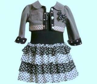 Bonnie Jean Polka Dot Ruffle Dress & Jacket Outfit Set 5 or 6X NWT