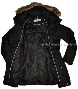 Size L new MARC NEW YORK Down COAT Quilted Womens Hooded Black Large