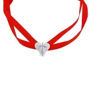 Diamond Accent Cross Angel Wing with Red Lace Necklace, 28 Jewelry