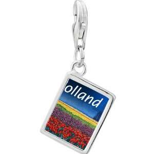 Sterling Silver Gold Plated Travel Holland Photo Rectangle Frame Charm