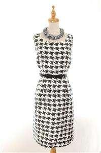 AUTH $395 Kate Spade Silk Houndstooth Lola Dress Black White 8