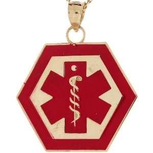 10k Real Gold Medical Alert Red Enamel 2.3cm Charm Pendant