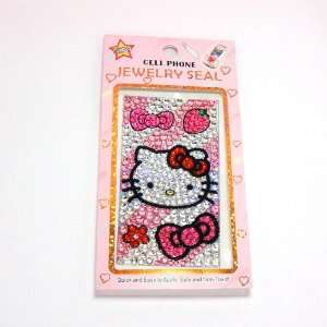 HELLO KITTY pink bow cellphone crystal sticker for iphone
