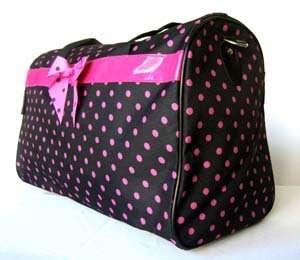 19Duffel/Tote Bag Black&Pink Polka Dots Luggage Travel