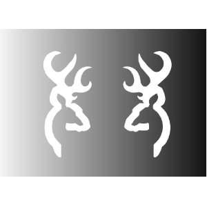 Set of 2   browning deer logo (mirror) white sticker vinyl
