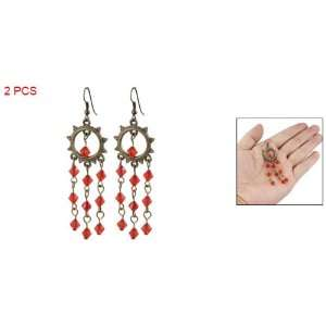 Lady Fashion Jewelry Red Plastic Rhombus Earring Eardrop Jewelry