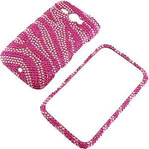 Rhinestones Protector Case for HTC Status, Hot Pink Zebra