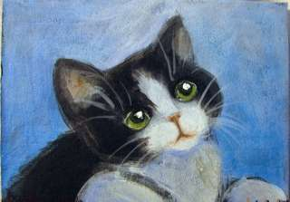 ACEO CapeCodArtist Original Acrylic Painting Cat Kitten Black and