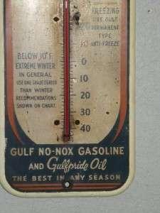 Gulf Motor Oils Dealer Gasoline Pump Station Thermometer Sign Original